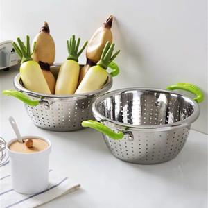 Stainless Steel Binaural Washing Basket Kitchen Taomi Basket Household Panning Basin Drain Basket Fruit Sink