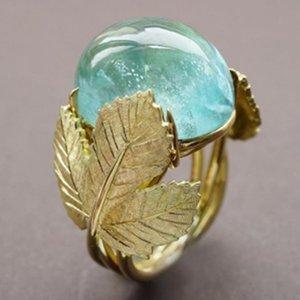 Party los anillos de compromiso de boda de la hoja del Rhinestone de la vendimia amarilla natural sólido del anillo de joyería de las mujeres Tamaño US6-11