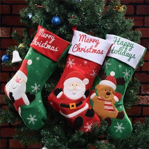 Festival 2020 Christmas Stocking Christmas Decorations Socks Gift Family Party Free Ship Santa Claus Deer Elk Cartoon Cloth Pengui