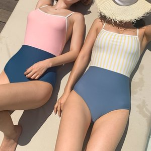 wKppg 2020 Japanese and Korean new swimsuit sexy Sling body close-fitting color sticker sling one-piece contrast sticker stripe slim-fit bel
