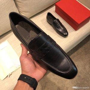 2020 neue Art und Weise italienischen Designers Formal Mens-Kleid-Schuh-echtes Leder-Schwarz-Luxurys Hochzeit Schuhe Herren Wohnungen Büro Oxfords