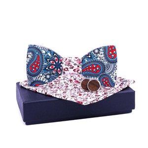 Linbaiway костюмы Деревянного Bow Tie Набор для Mens Hanky Запонки Set Wood Боути Женщина Paisley Цветочного Gravatá Cravat с коробкой