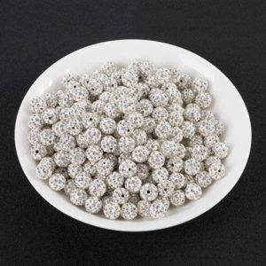 2JVPs 10MM beyaz kil sondaj top tam elmas DIY bilezik deliği Diy DiamondBracelet Diamonddrilling topla Shambhala boncuk