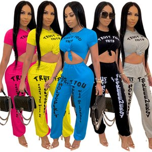Women short sleeve suits solid color letter outfits s-3xl jogger suits fall winter clothing crop tops Leggings tracksuits sportswear 3836