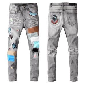 Neue Herbst-Fest klassische Art-Designer-Männer Jeans-dünner FitDenny Stoff Multiple Wash Mens Fashion elastische Top-Qualität Hosen US-Größe 29-40