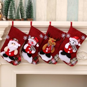 Weihnachtsstrümpfe Gift Bag Snowman Weihnachtsmann Druck Süßigkeit-Geschenk-Beutel-Halter Weihnachten Socken hängende Ornamente Weihnachtsschmuck HHD1613