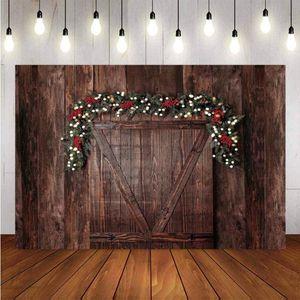 Photography Background Christmas Wreath Decoration Tree Retro Vintage Wooden Door Christmas Backdrops for Photo Studio