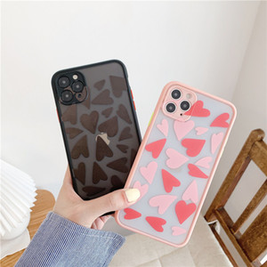 Contrasting Matte Shockproof Anti-fall Len Protection Phone Case for iPhone 11 PRO XR XS Max 7 Plus Case Skin Feel Love Heart Back Cover