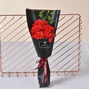 Hot sale Valentines Day Creative 5 pcs Simulation Carnation Bath Body Soap Bouquet Case Wedding Decoration Gift with Window Festival Box
