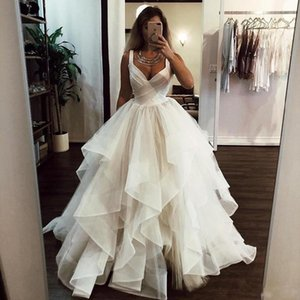 Chic Spaghetti Straps A Line Wedding Dresses V Neck Backless Ruffled Tiered Long Country Tulle Bridal Gowns Custom Made