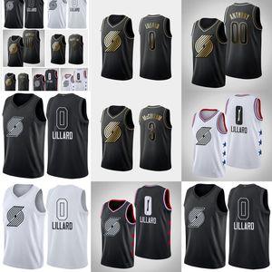 Portland \ rTrail \ rBlazers \ Rmen Damian Lillard Carmelo Anthony C.J. McCollum All-Star d'oro edizione basket Jersey