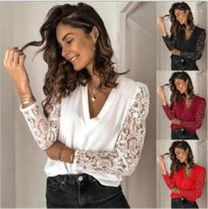 Casual Summer T Shirts Womens Designer TShirts Lace Flora Panelled Long Sleeve Tops Fashion V Neck