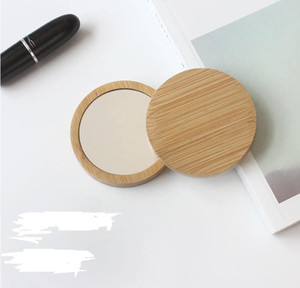 100pcs bamboo Cosmetic Mirror Round Portable Mirror Elm makeup mirror your logo Party Gift SN4699