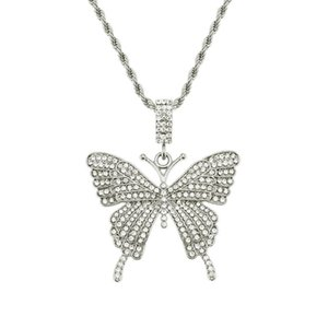 New Arrival Hip Hop Iced Out Butterfly Pendant Necklace Mens Women Bling Bling Rapper Singer Chain Jewelry