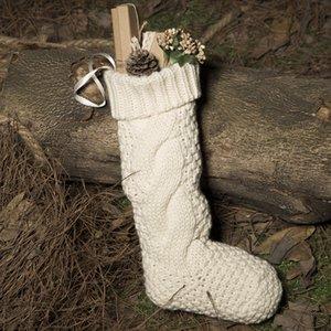 솔리드 니트 크리스마스 스타킹 선물 복고풍 가방 크리스마스 트리 장식을 매달려