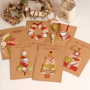 Cartes B-Noël Cartes de voeux 3D de vacances de mariage d'invitation d'anniversaire carte postale Folding cadeau Blessing Carte d'étiquettes