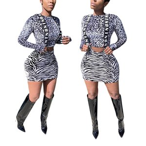 Sexy Leopard Prined Designer Dress Suits OL Style Hollow Out Strap Dress Suits Womens Clothing 2 Piece Set