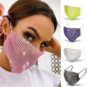 Maschere di lusso del progettista faccia fascino mascherina Bling riutilizzabile lavabile Fancy punta di diamante maschere solare protettiva decorazione di strass Mask