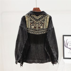 Denim Jacket Korean Floral Embroidery Suede Fringe Loose Chaquetas Mujer Coat Long Sleeve Outerwear Jacket Women Veste Femme 200917