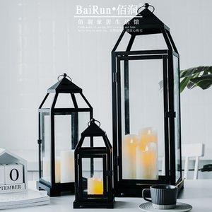 Holder antivento di candela all'aperto vetro stand ferro nero Grande supporto di candela Rustic Nordic Candelabro Vela Lanterna JJ60ZT