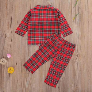 2020 New Baby Clothing Sets Retro Red Plaid Turn-Down Collar Pocket Blouse Top + Pants 2Pcs Set Boutique Kids Boys Clothes