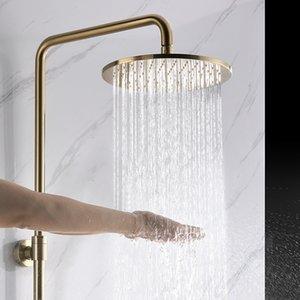 2020 Badezimmer 10-Zoll-Moderne Runde Dusche Wasserhahn Set Hotel der Wand befestigter gebürstet Gold-Regen-Dusche-Hahn-System