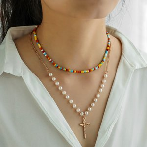 Hot Fashion Jewelry Double Layer Chain Faux Pearls Colorful Beads Necklace Cross Pendant Necklace