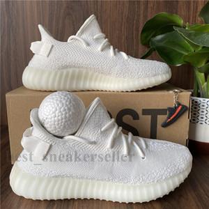 Top hombre de la calidad de los zapatos corrientes de las mujeres Runner Sports zapatillas de deporte de Kanye West crema blanca estática Abez Eliadá Negro Rojo Cinder V2 Caja Doble