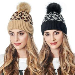 uomini Cappello e sciolto maglia Berretti cappello Autunno leopardo di inverno delle donne Con sfera della pelliccia cappello europea e la pila di svago americano fino Cap