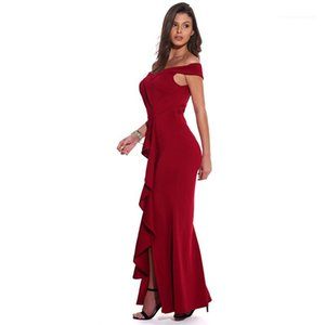 Evening Dress Party Fashion Split Females Clothing Slash Neck Womens Designer Maxi Dresses Solid Color Womens