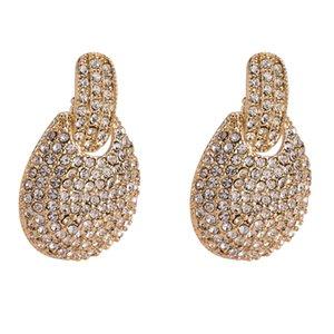 alloy drop Earrings for women 2018 new Luxury boho personality Simple Rhinestones Dangle earrings Vintage round geometric Jewelry wholesale