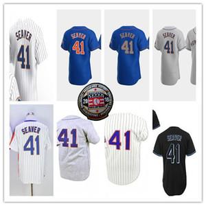 Homens Tom Seaver Jersey Baseball 2018 Hall Of Fame mancha branca das riscas Azul Cinzento Preto pulôver costurado Alternate shirt 4XL