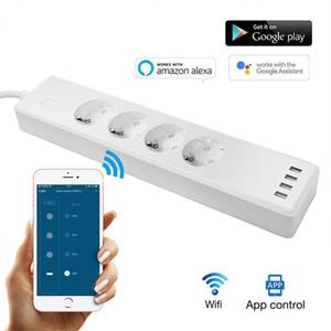 Akıllı Wifi Power Board Surge Protector Çoklu Yuva 4 Usb Portları Zamanlayıcı Ses Uzaktan Kumanda (Amazon Echo Alexa için) Google Ana Sayfa