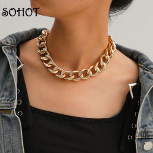 Chokers, так что европейский минималистский панк широко-сплава женские колье ожерелье Chic Micro Zircon для женского по рождению вечеринка очаровательные украшения