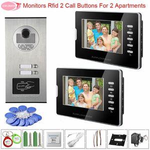 Monitörler Beyaz / Siyah Dahili Kamera RFID Erişim Kontrolü Fonksiyonu ile bir Daireler video Doorbell için 7inch İnterkomlar interkom