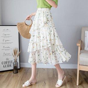 o0S9C new for floral chiffon Mori women 2020 Summer AfsCj loose high waist fairy knee-high cake skirt cake skirt