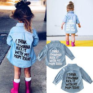 2-7Y Autumn Toddler Kids Baby Girl Shirts Tops Clothes Denim Letter Print Long Sleeve Tops Shirt Warm Coat Shirt