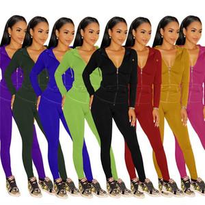 Frauen Trainingsanzug Solide Farbe Reißverschluss Sweatshirt Top und Hosen Anzug Zwei Teil Set Jogging Weibliche Kleidung Streetwear Fitness Outfits