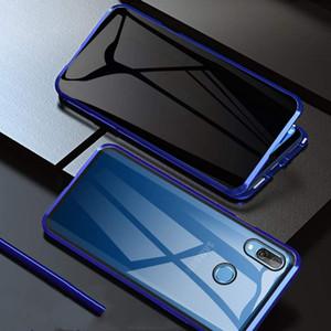 Anti Peeping Magnet Privacidade Absorção Telefone filme Caso Double Side Metal Cover Bumper vidro moderado para o Samsung Galaxy A20 A30 A50 A70 A40