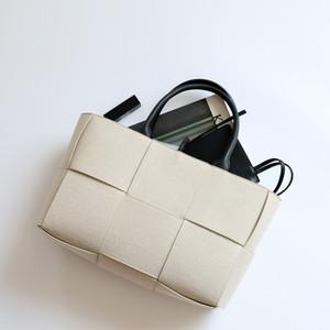 Luxurys Designers Borse 2020 di nuovo stile Song Hye-kyo Celebrity Ispirato Bianco tessuto della tela di canapa Arco Handbag Tote Bag