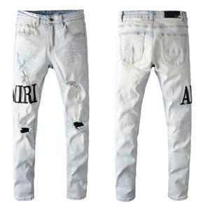 Yeni Tasarımcı Marka Erkek Patch Delik Jeans Harf Baskılı Aplike Moda Erkek Pantolon Yansıtıcı Fermuar Fly Katı Boys Streetwears Denim Je