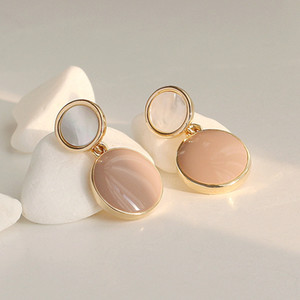 Earring with nature shell stone, S925 Silver needle drop oil noble delicate free shipping and high quality