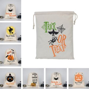 Halloween Gift Bags Large Organic Heavy Canvas Bag Trick or Treating Spider Booing Halloween Candy Gift Cotton Bag Decoration DDA502