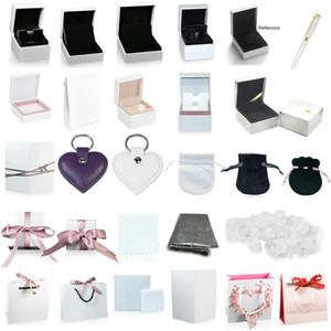 고품질의 판도라 상자 매력 링 귀걸이 팔찌 목걸이의 보석 보호 상자 보증 선물 가방 카드 액세서리 키 체인 펜