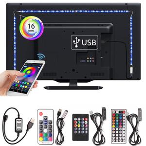 Conjunto de fuente de alimentación de neón flexible tira de LED RGB de la cinta de 5050 Antecedentes Ledstrip DC5V TV Iluminación lámpara de la cocina tira llevada USB Bluetooth