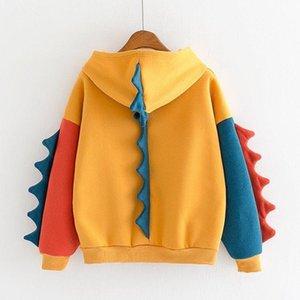 Cute Hoodies Patchwork Winter Harajuku Kawaii Sweatshirt Women Oversize Hooded Pullover Dinosaur Cos Tops Tracksuit Sudadera New