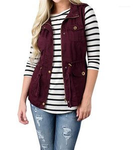 Womens Vests Solid Color Stand Collar Ladies Outerwear Sleeveless Washed Casual Femme Vests with Zipper Cardigan
