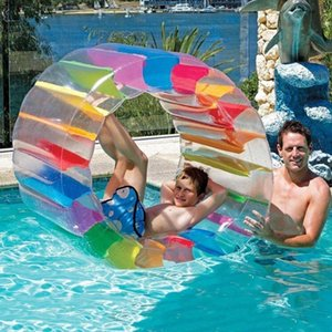 Kids Colorful Inflatable Water Wheel Roller Float Giant Roll Ball For Boys Girls Swimming Pool Toys Crawling Roller Toy Beach Play Equipment