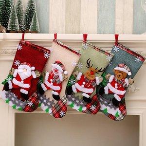 Рождество Большой чулки снеговика Санта-Клаус конфеты подарочные пакеты Держатели Xmas носки висячие украшения Рождественские украшения море Доставка IIA596