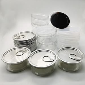 Plastique transparent Can 100ml Easy Open tirette anneau Can Couvercle 3.5g de qualité alimentaire fleur d'emballage Cas herb sec thon poisson vide Cans OEM